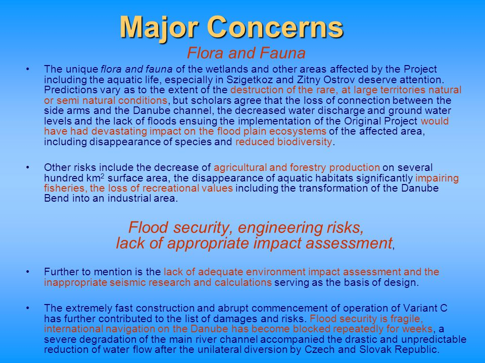Major Concerns Flora and Fauna