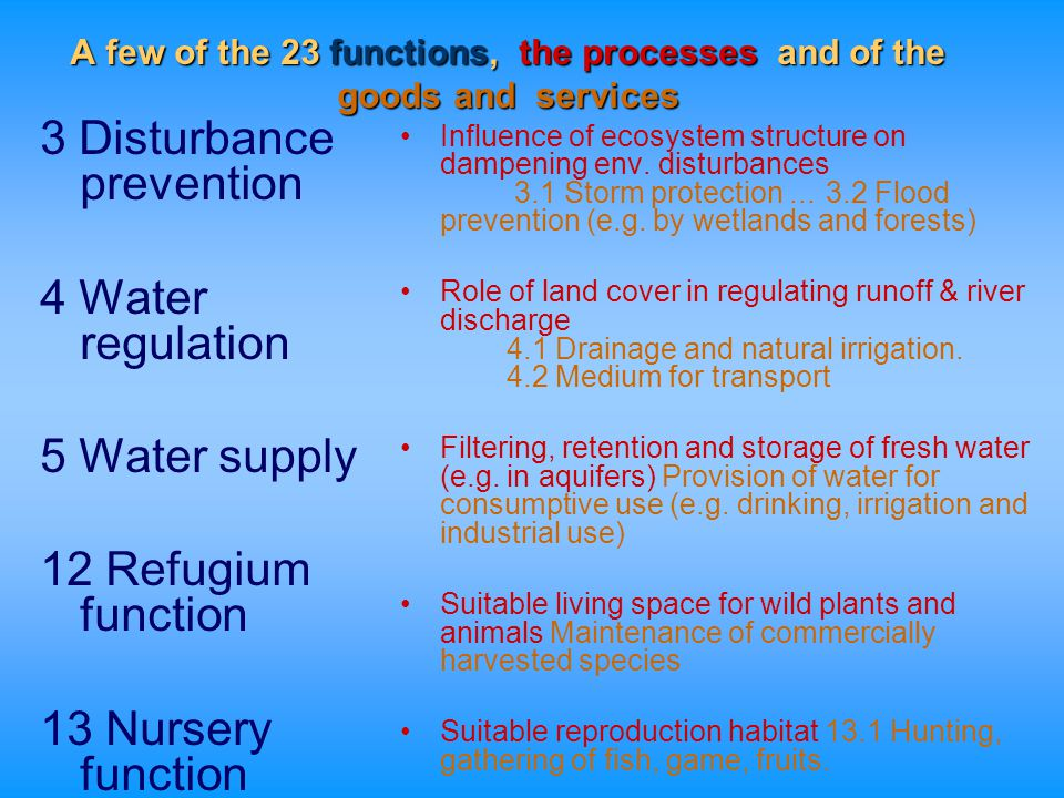 A few of the 23 functions, the processes and of the goods and services