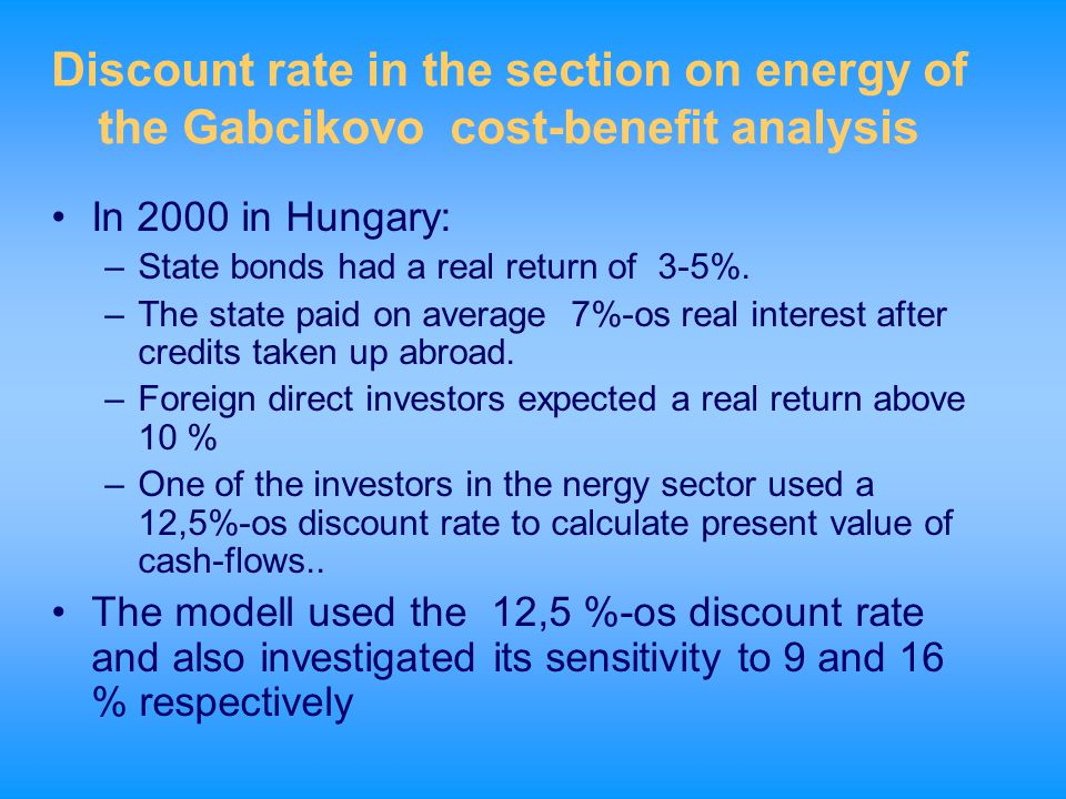 Discount rate in the section on energy of the Gabcikovo cost-benefit analysis