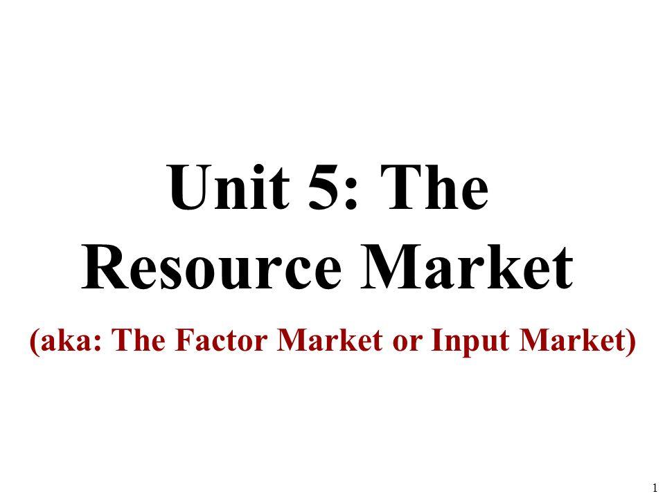 Unit 5: The Resource Market