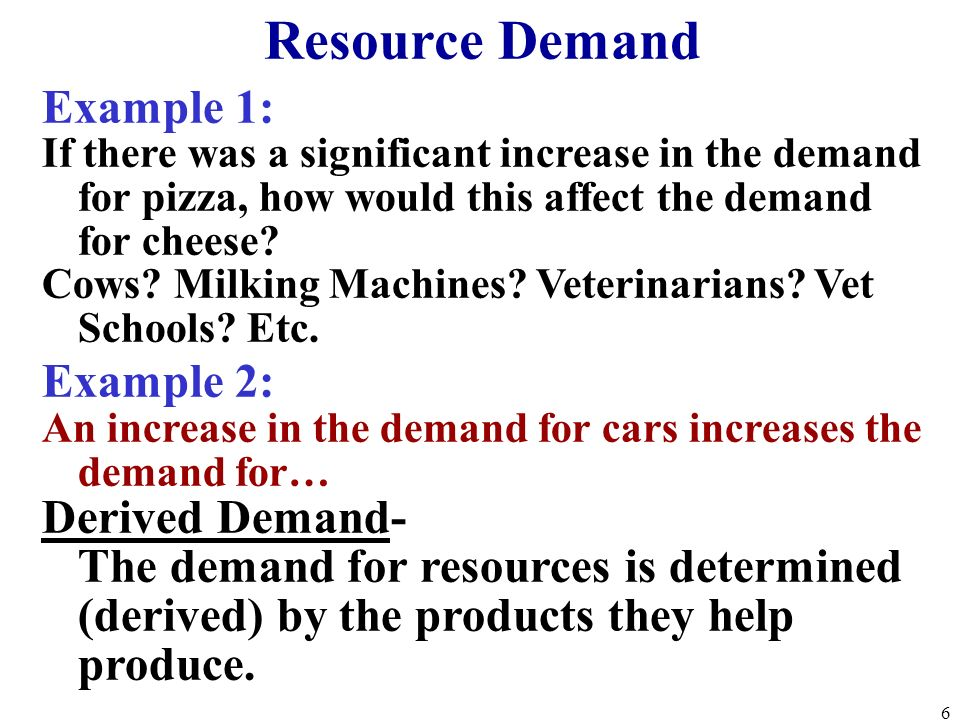Resource Demand Example 1: Example 2: Derived Demand-