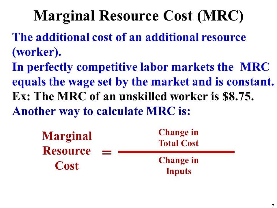 Marginal Resource Cost (MRC)