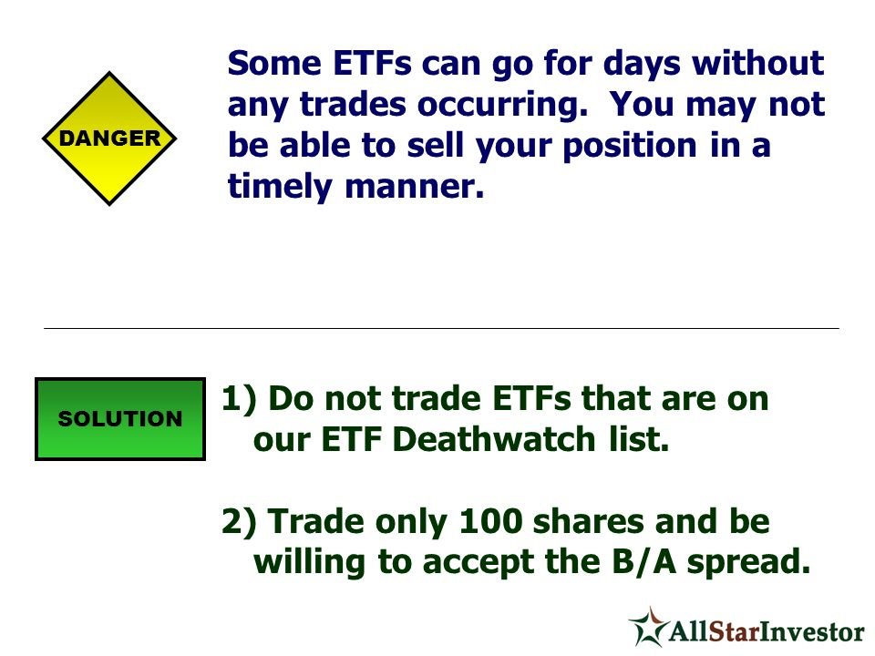 Do not trade ETFs that are on our ETF Deathwatch list.