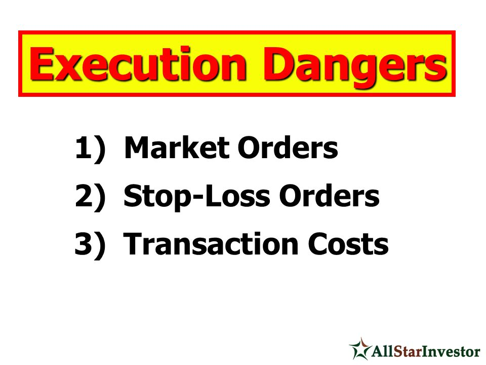Execution Dangers Market Orders Stop-Loss Orders Transaction Costs