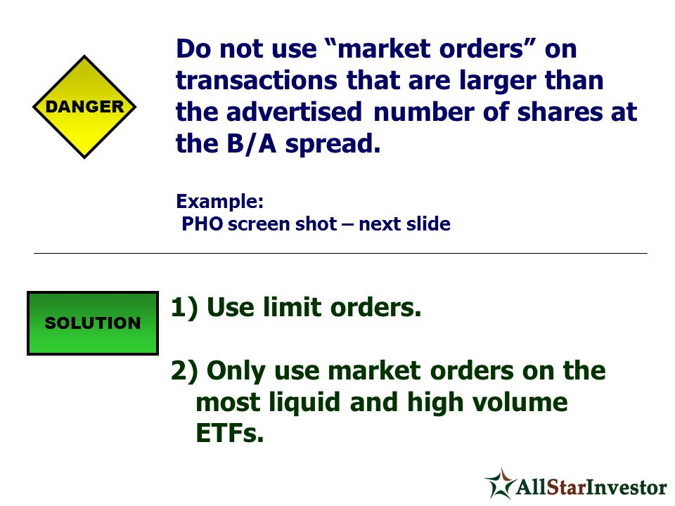 Only use market orders on the most liquid and high volume ETFs.