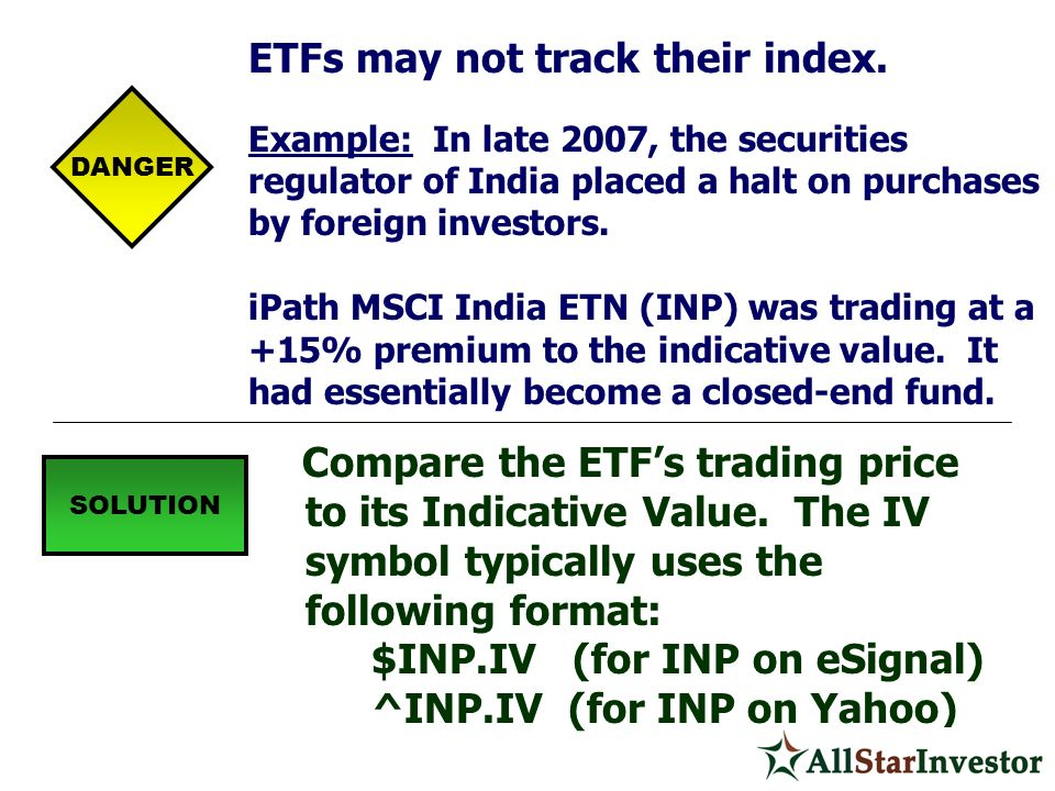 ETFs may not track their index.