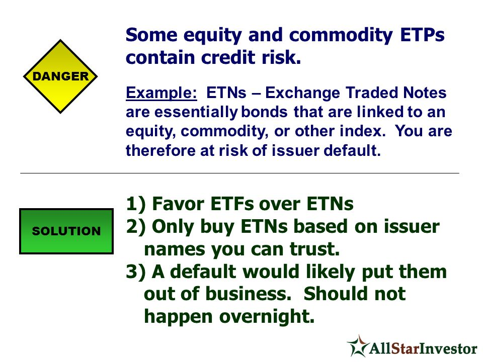 Some equity and commodity ETPs contain credit risk.