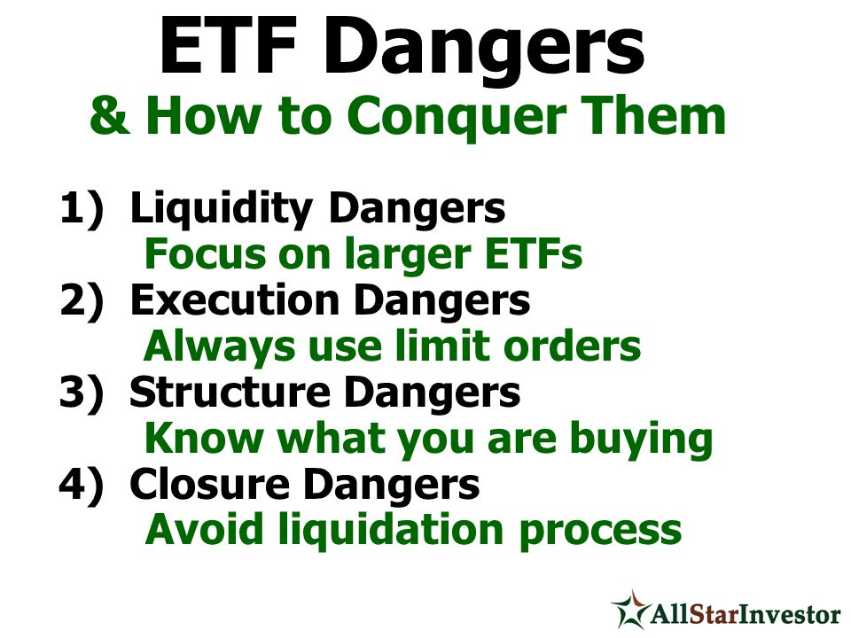 & How to Conquer Them 1) Liquidity Dangers Focus on larger ETFs