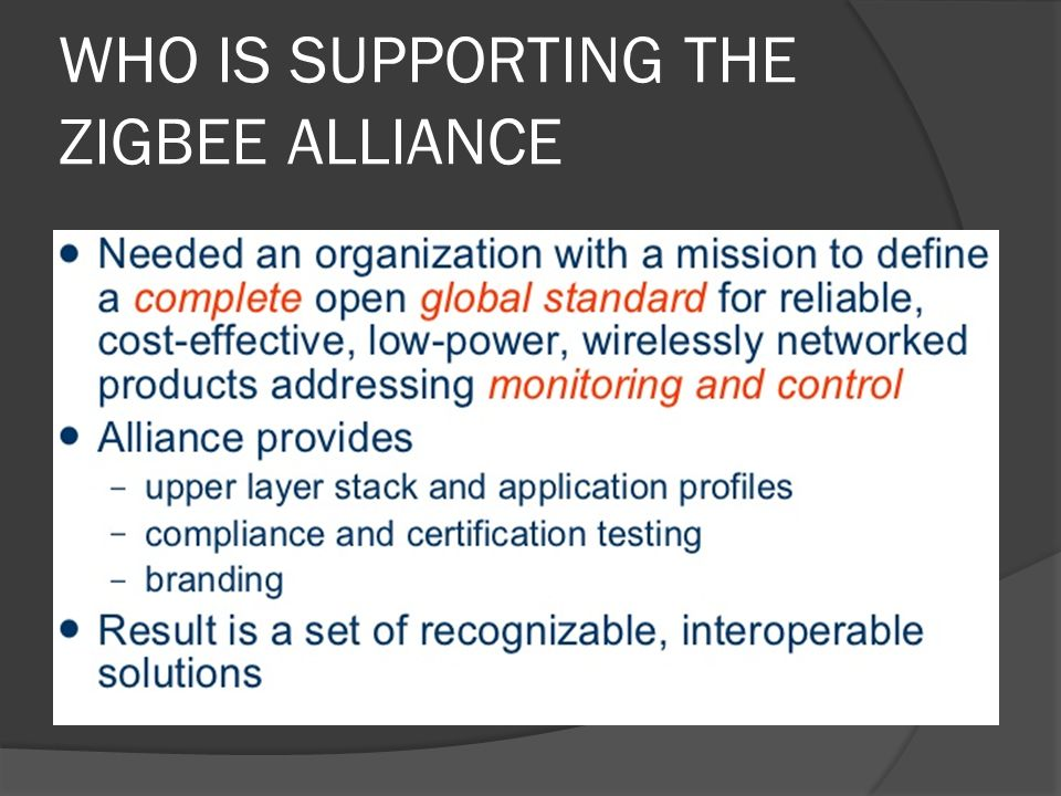 WHO IS SUPPORTING THE ZIGBEE ALLIANCE