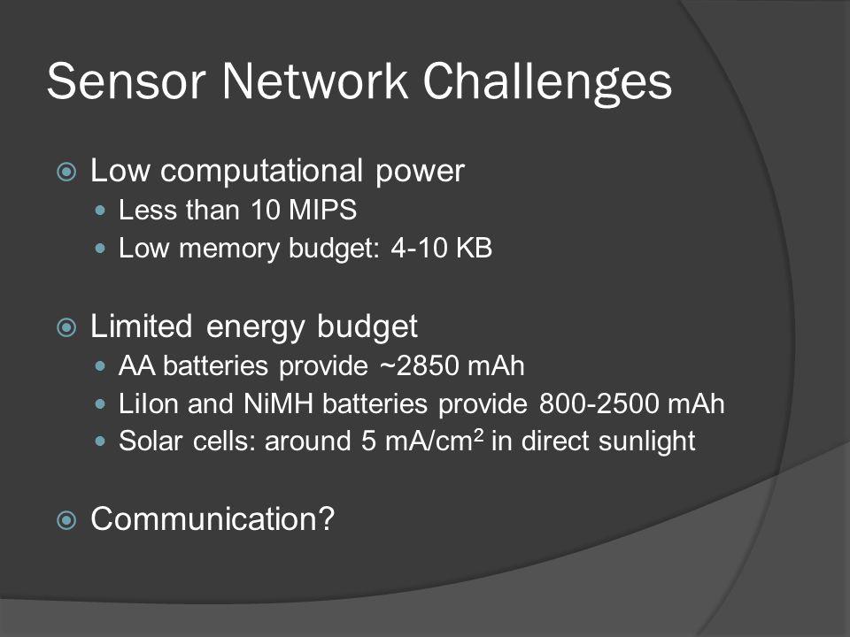Sensor Network Challenges
