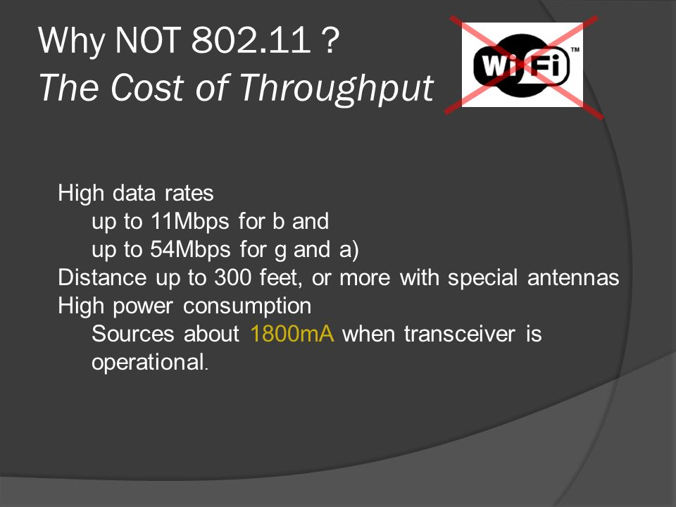 Why NOT 802.11 The Cost of Throughput