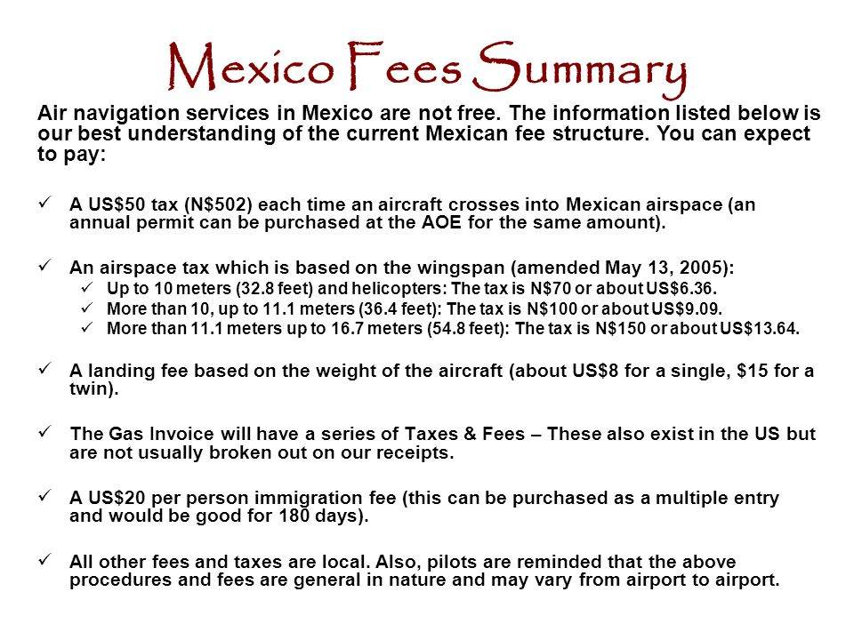 Flying in out of mexico ppt download mexico fees summary sciox Gallery