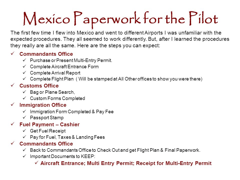 Mexico Paperwork for the Pilot