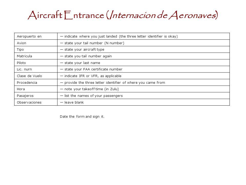 Aircraft Entrance (Internacion de Aeronaves)