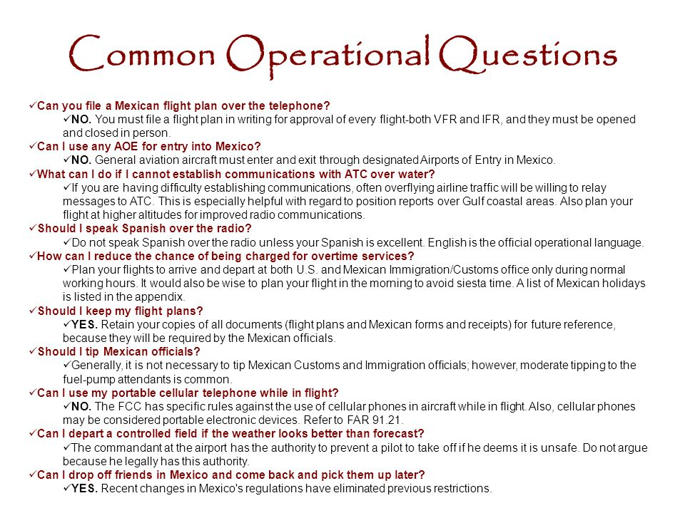Common Operational Questions