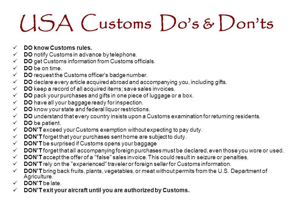 USA Customs Do's & Don'ts