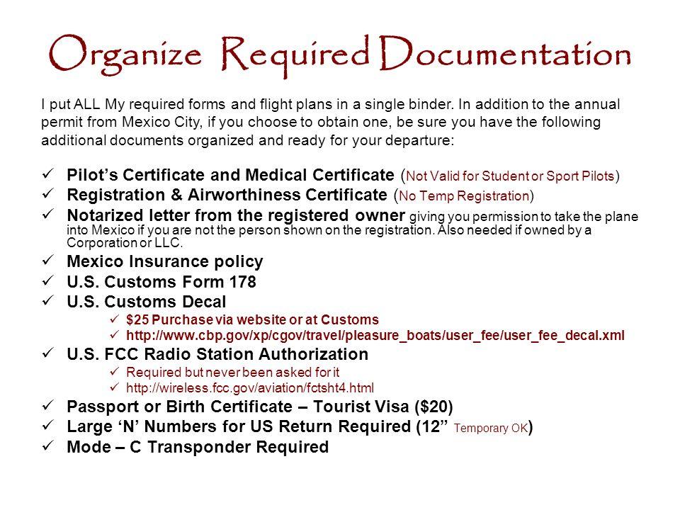 Organize Required Documentation
