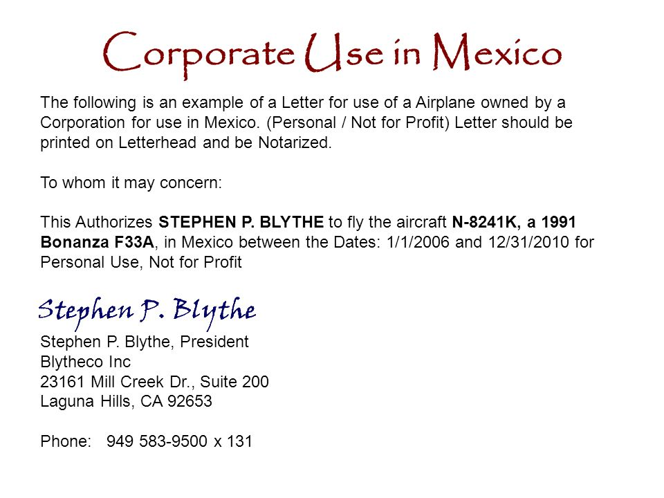 Corporate Use in Mexico