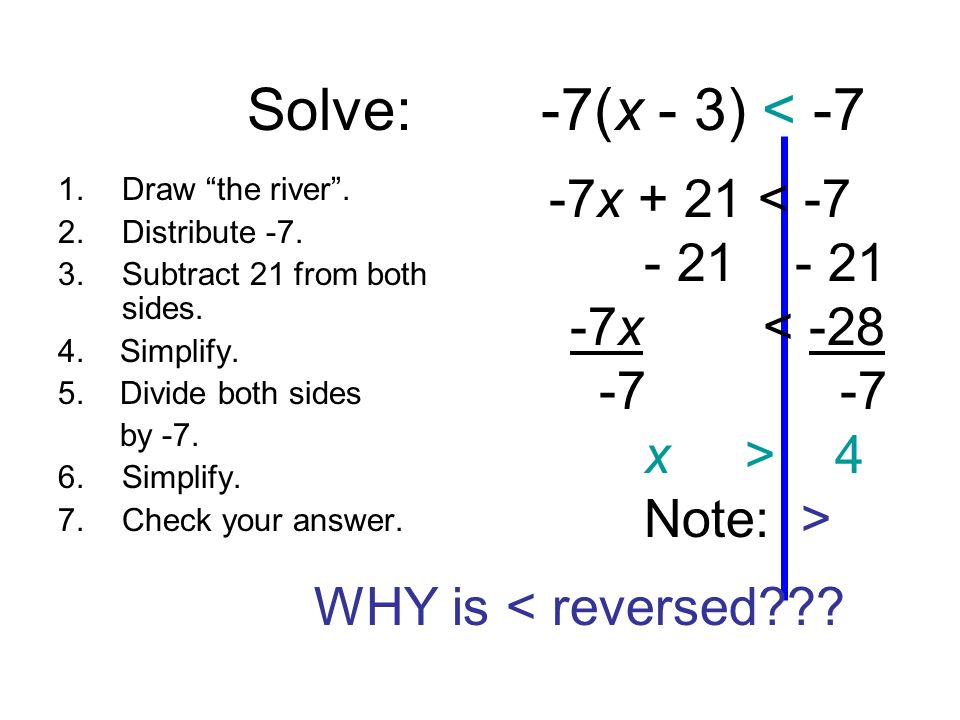 Solve: -7(x - 3) < -7 - 21 - 21 -7x < -28 -7 -7 x > 4