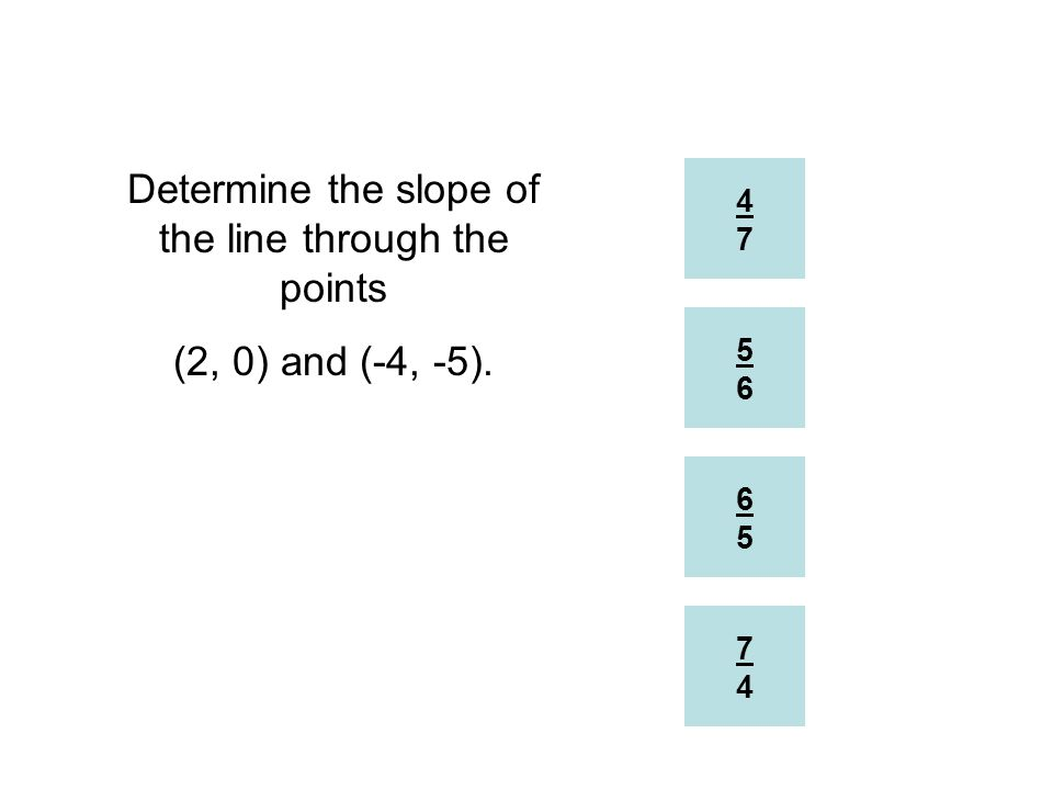 Determine the slope of the line through the points