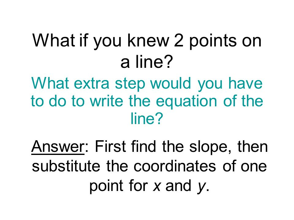 What if you knew 2 points on a line