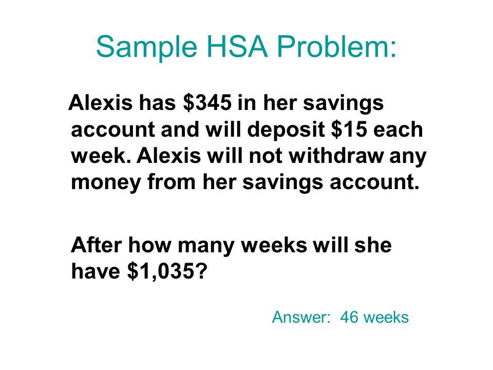 Sample HSA Problem: