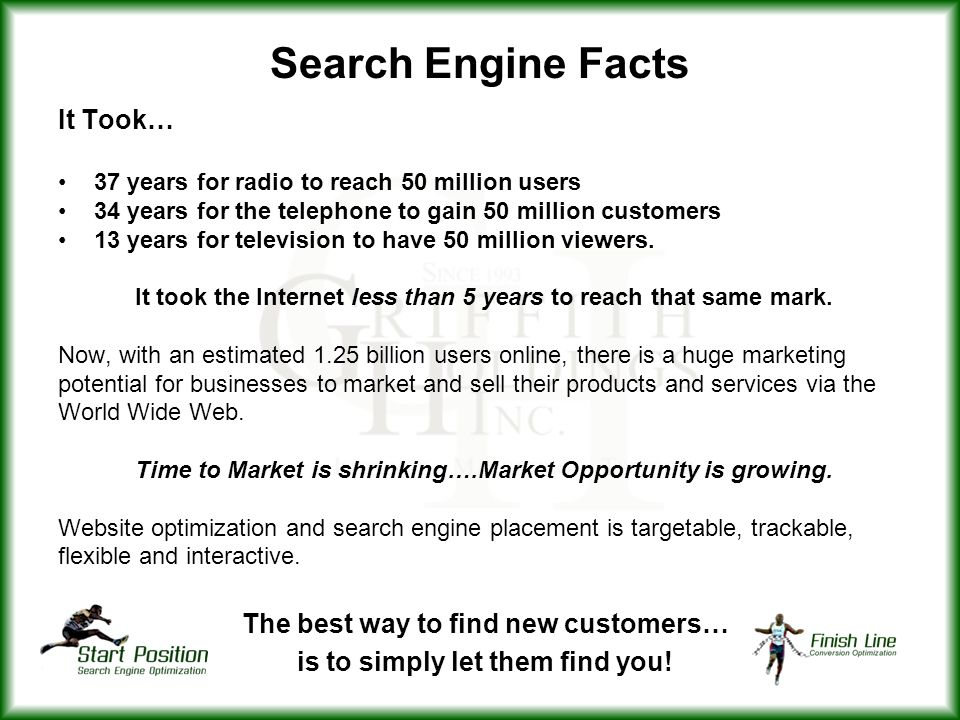 Search Engine Facts It Took… The best way to find new customers…