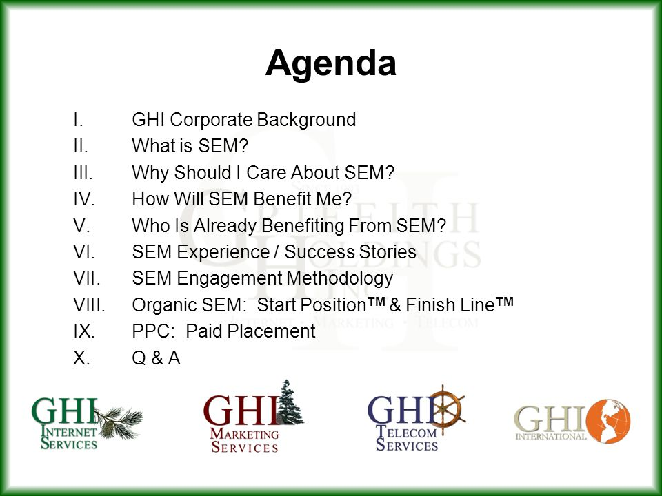 Agenda I. GHI Corporate Background What is SEM