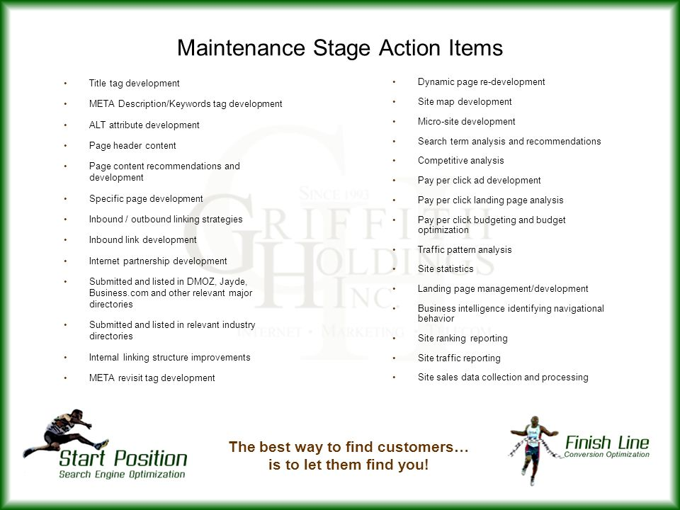 Maintenance Stage Action Items