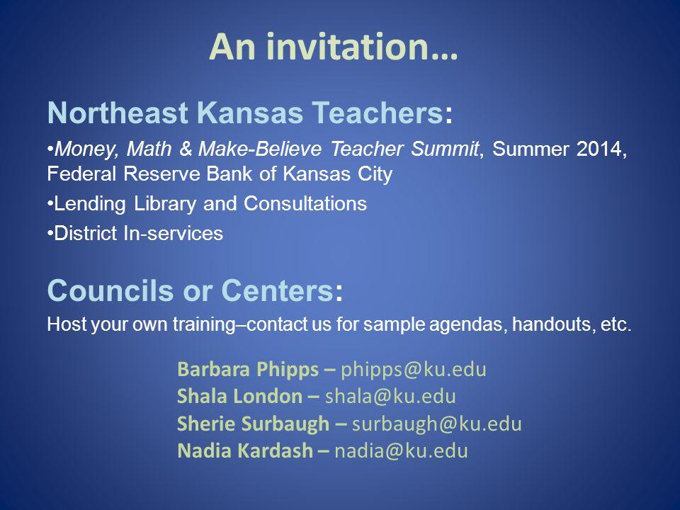 An invitation… Northeast Kansas Teachers: Councils or Centers: