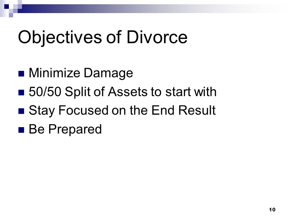 Objectives of Divorce Minimize Damage