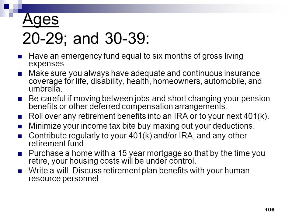 Ages 20-29; and 30-39: Have an emergency fund equal to six months of gross living expenses.