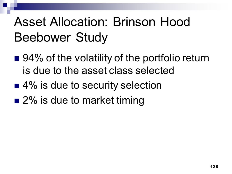 Asset Allocation: Brinson Hood Beebower Study