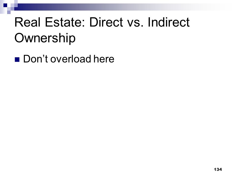 Real Estate: Direct vs. Indirect Ownership