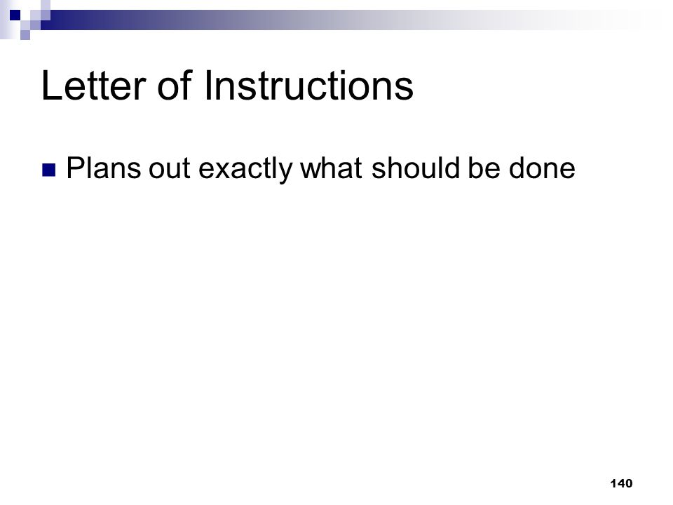 Letter of Instructions