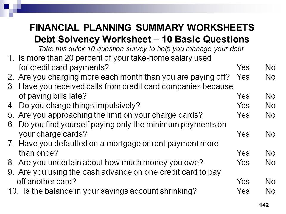 FINANCIAL PLANNING SUMMARY WORKSHEETS