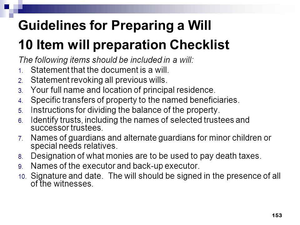 Guidelines for Preparing a Will 10 Item will preparation Checklist
