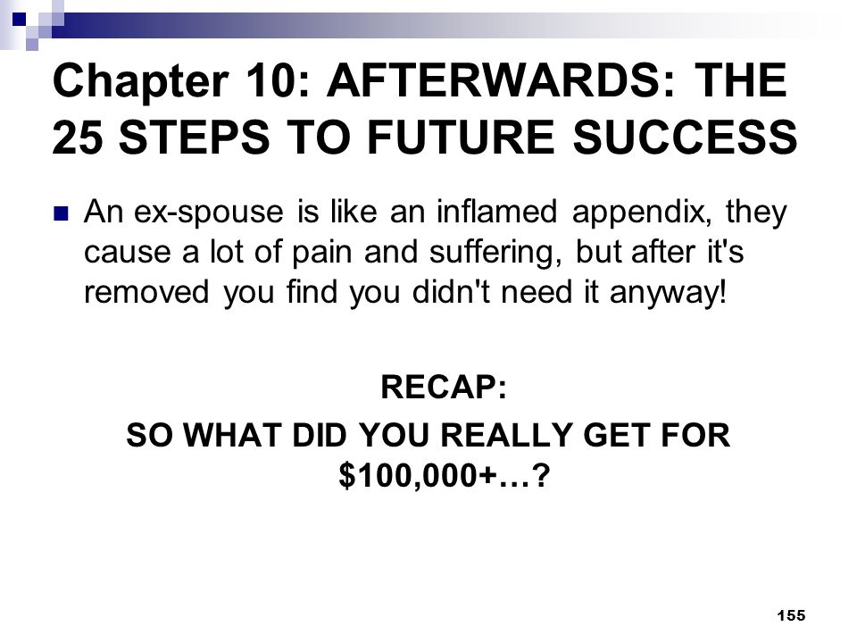 Chapter 10: AFTERWARDS: THE 25 STEPS TO FUTURE SUCCESS