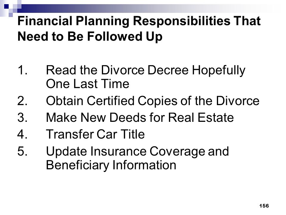 Financial Planning Responsibilities That Need to Be Followed Up
