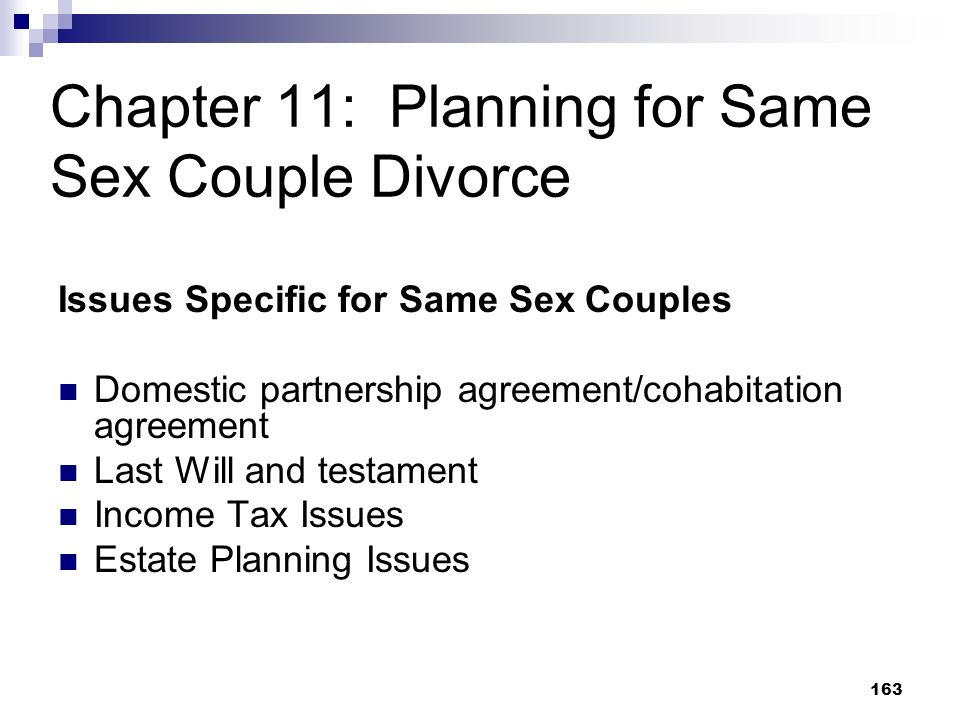 Chapter 11: Planning for Same Sex Couple Divorce