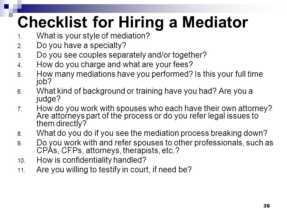 Checklist for Hiring a Mediator