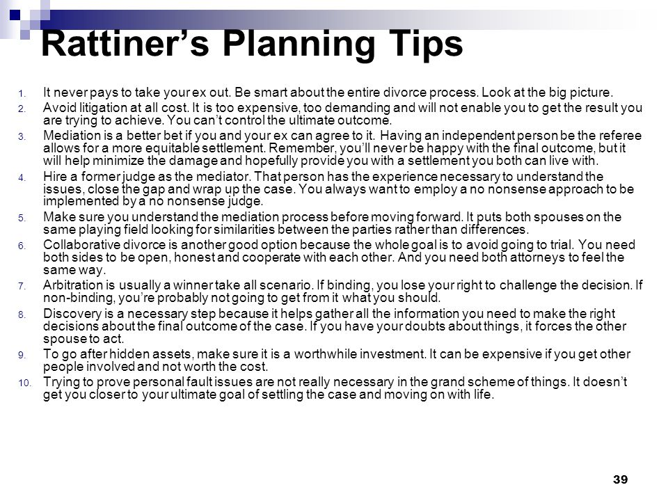 Rattiner's Planning Tips