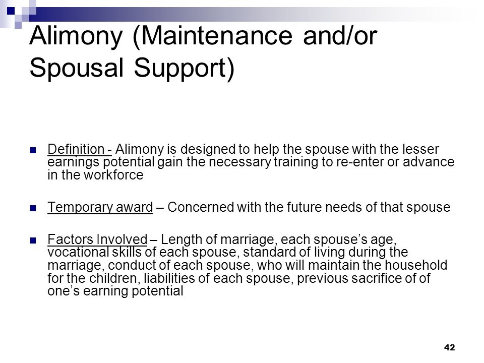 Alimony (Maintenance and/or Spousal Support)