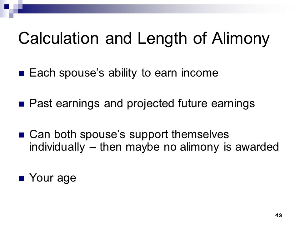Calculation and Length of Alimony