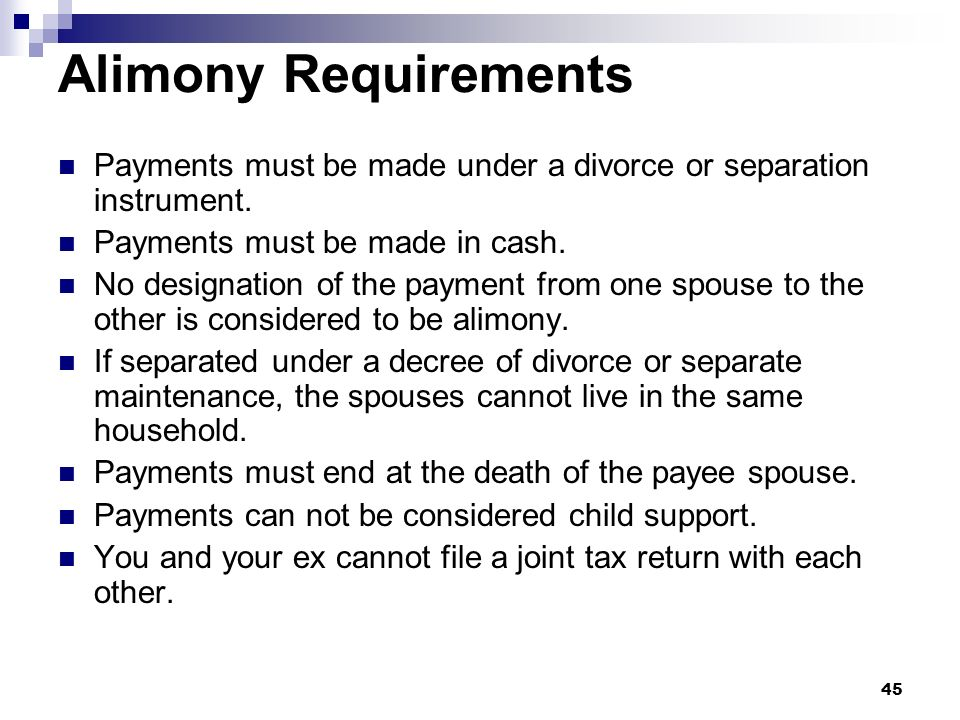 Alimony Requirements Payments must be made under a divorce or separation instrument. Payments must be made in cash.