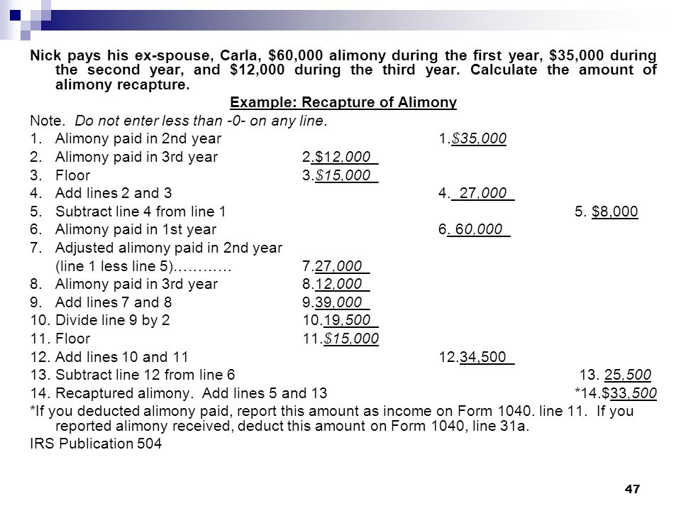 Example: Recapture of Alimony
