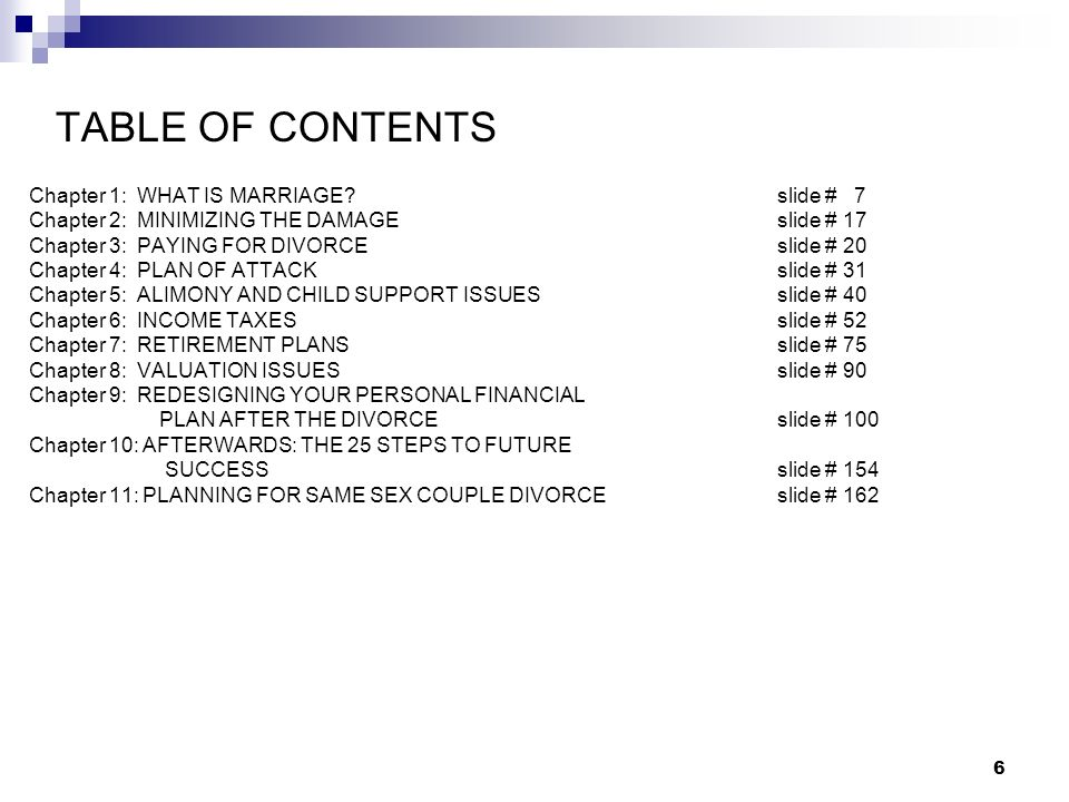 TABLE OF CONTENTS Chapter 1: WHAT IS MARRIAGE slide # 7