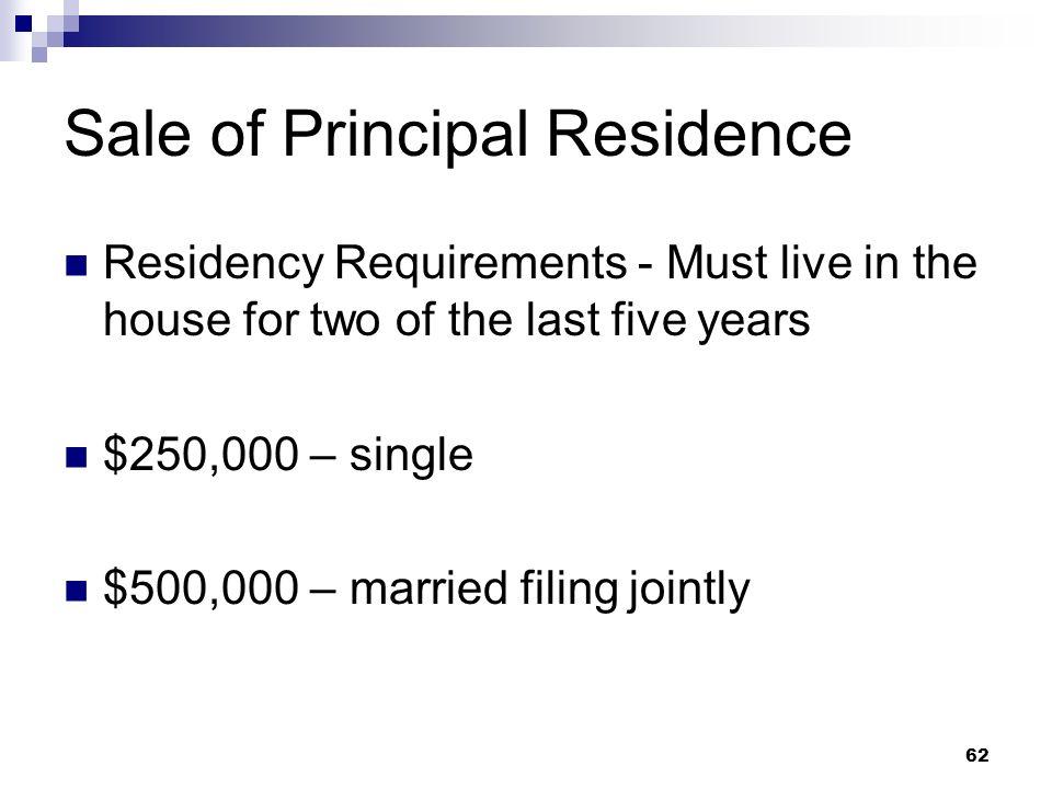 Sale of Principal Residence