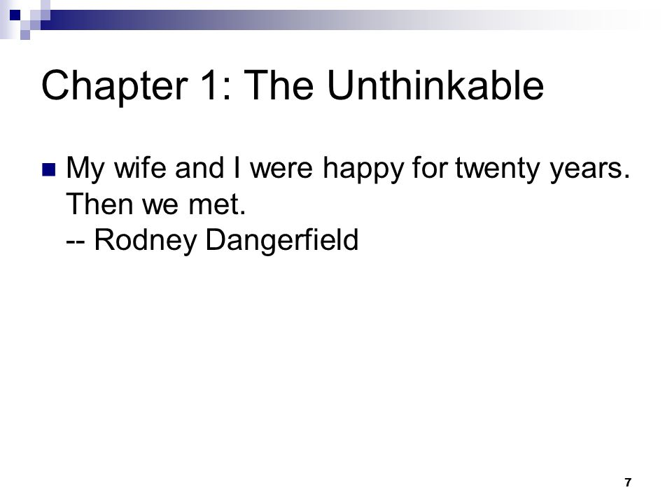 Chapter 1: The Unthinkable