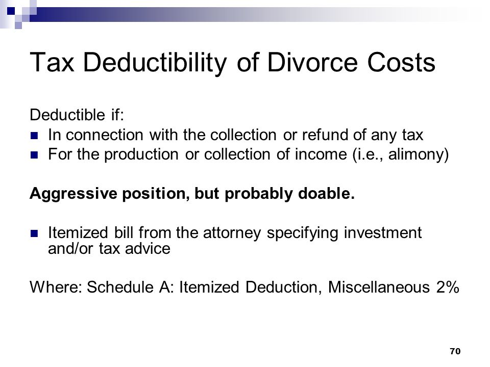 Tax Deductibility of Divorce Costs